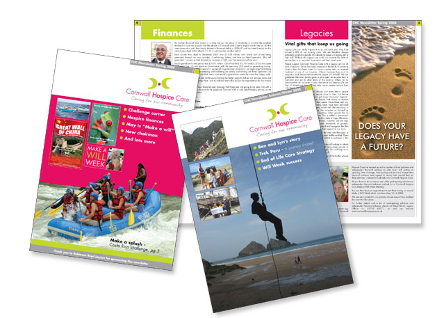 Newsletters and poster for Cornwall Hospice Care